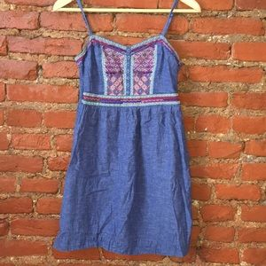 Jean dress with embroidered detail